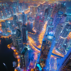 Bright Lights of Dubai Skyline