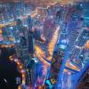 Bright Lights of Dubai Skyline
