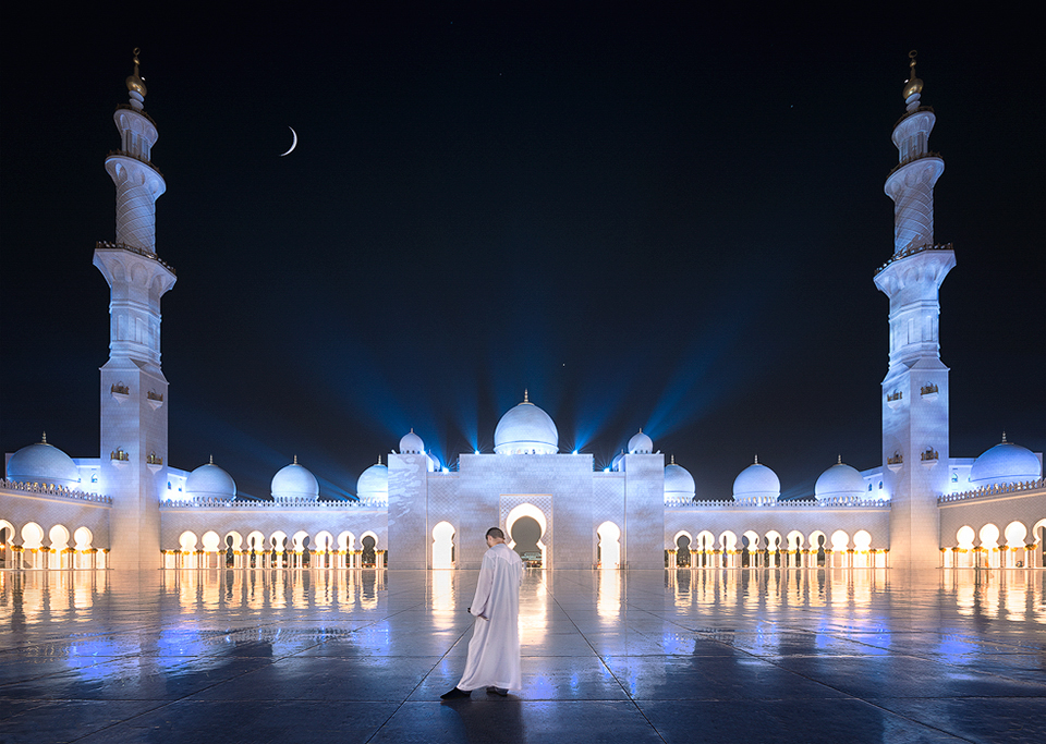Sheikh Zayed Grand Mosque At Night Tsl Post Processing