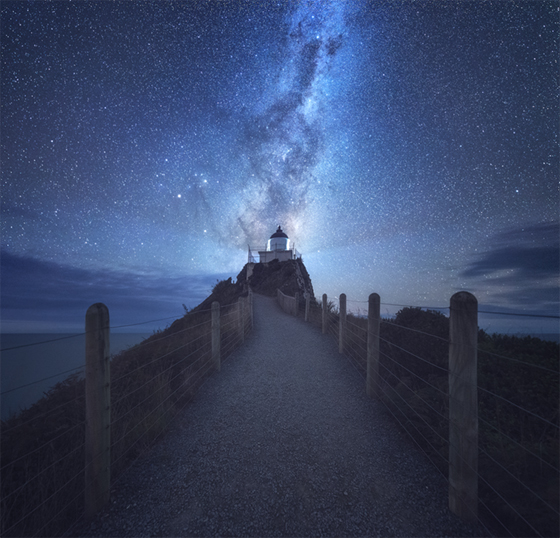 milky way over nugget point after1